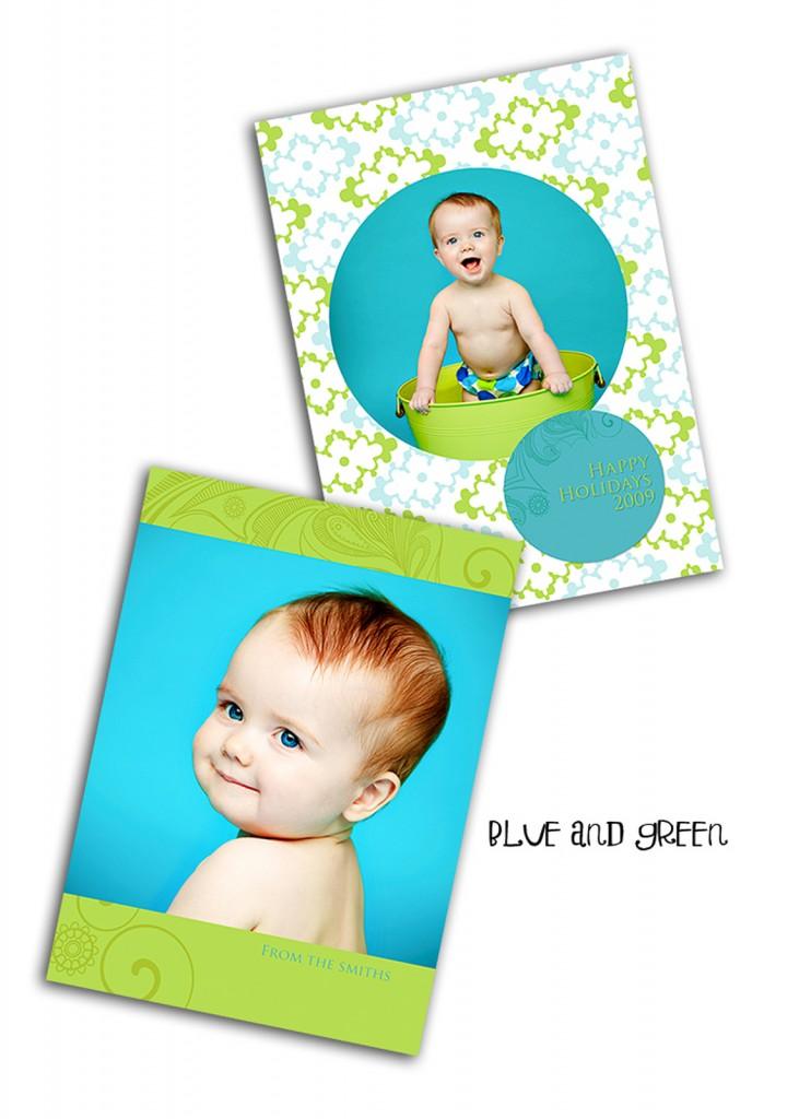 blua and green